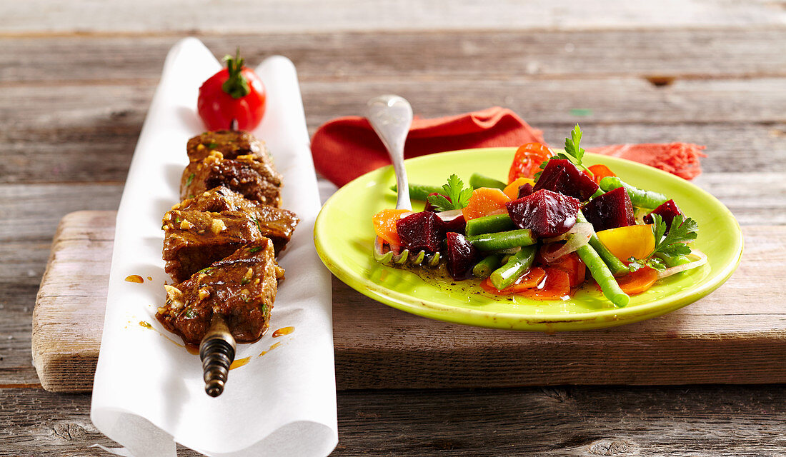 Red beef leg chimichurri skewers with a beetroot salad (Argentina)