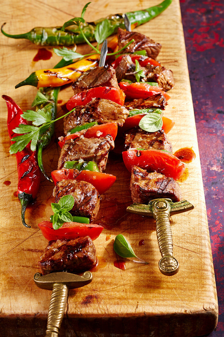 Sish kebab – grilled Turkish lamb skewers with jalapenos, oregano, parsley and tomatoes