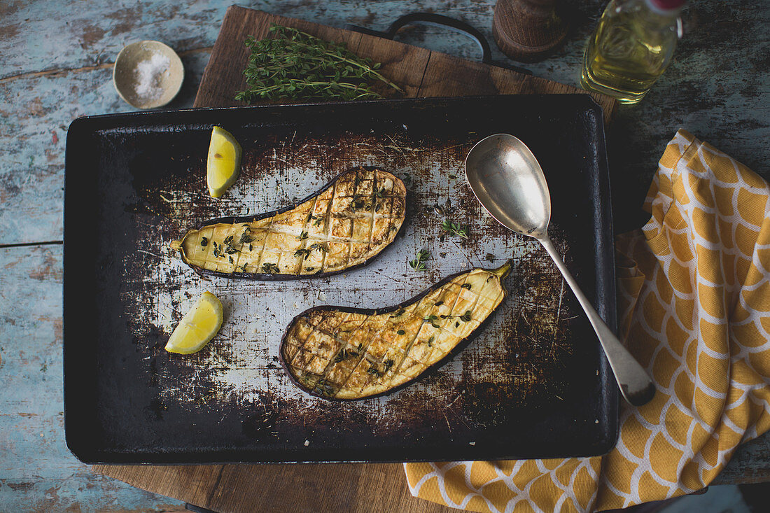 Fried eggplants with olive oil and thyme