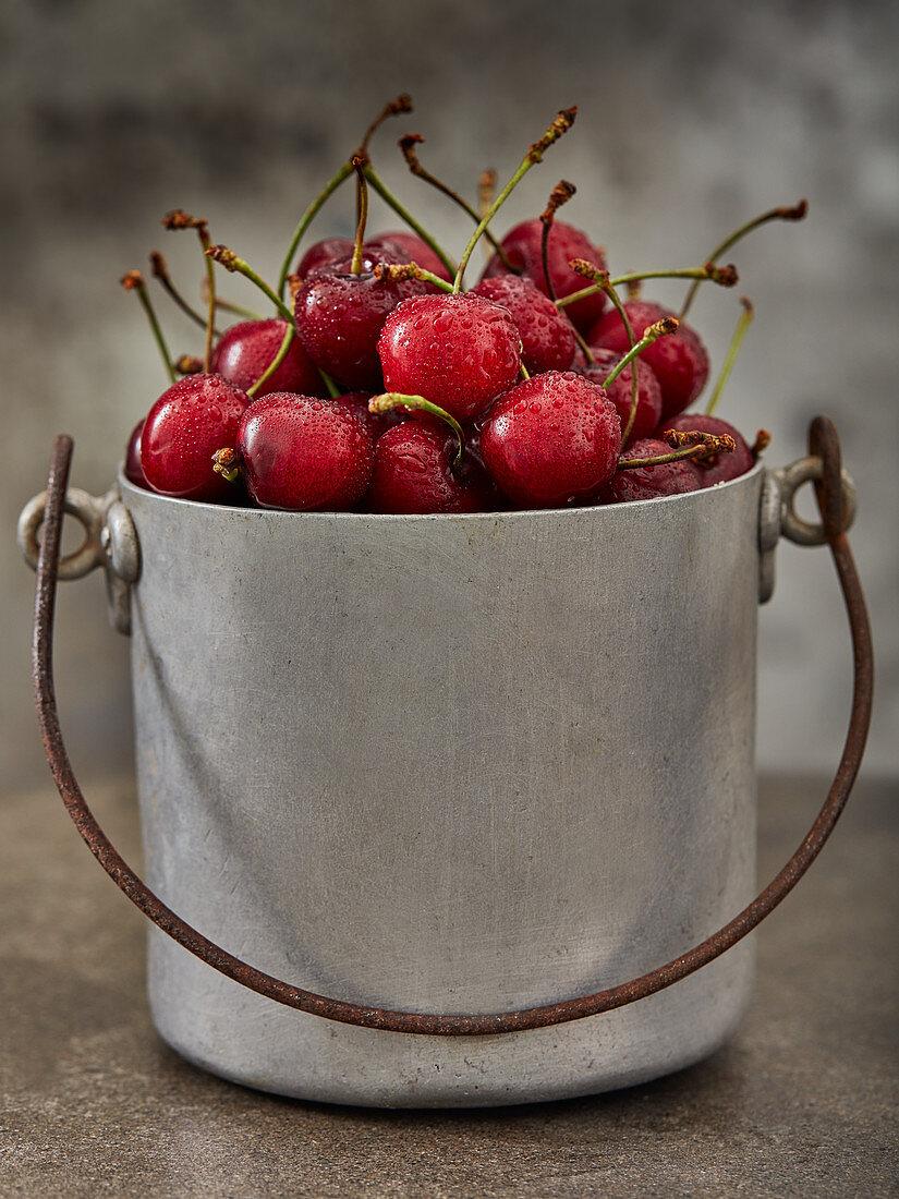 Cherries in a metal bucket