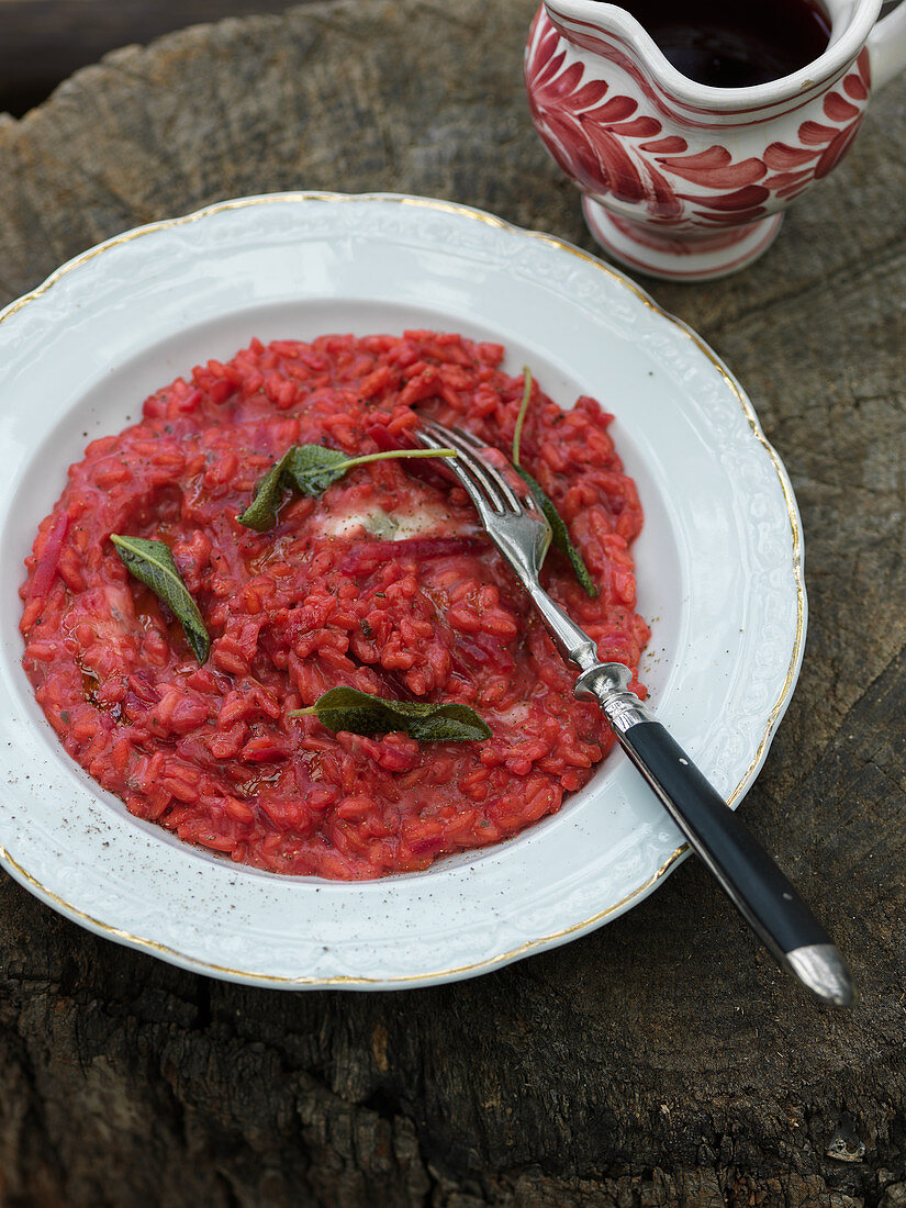 Beetroot risotto with sage