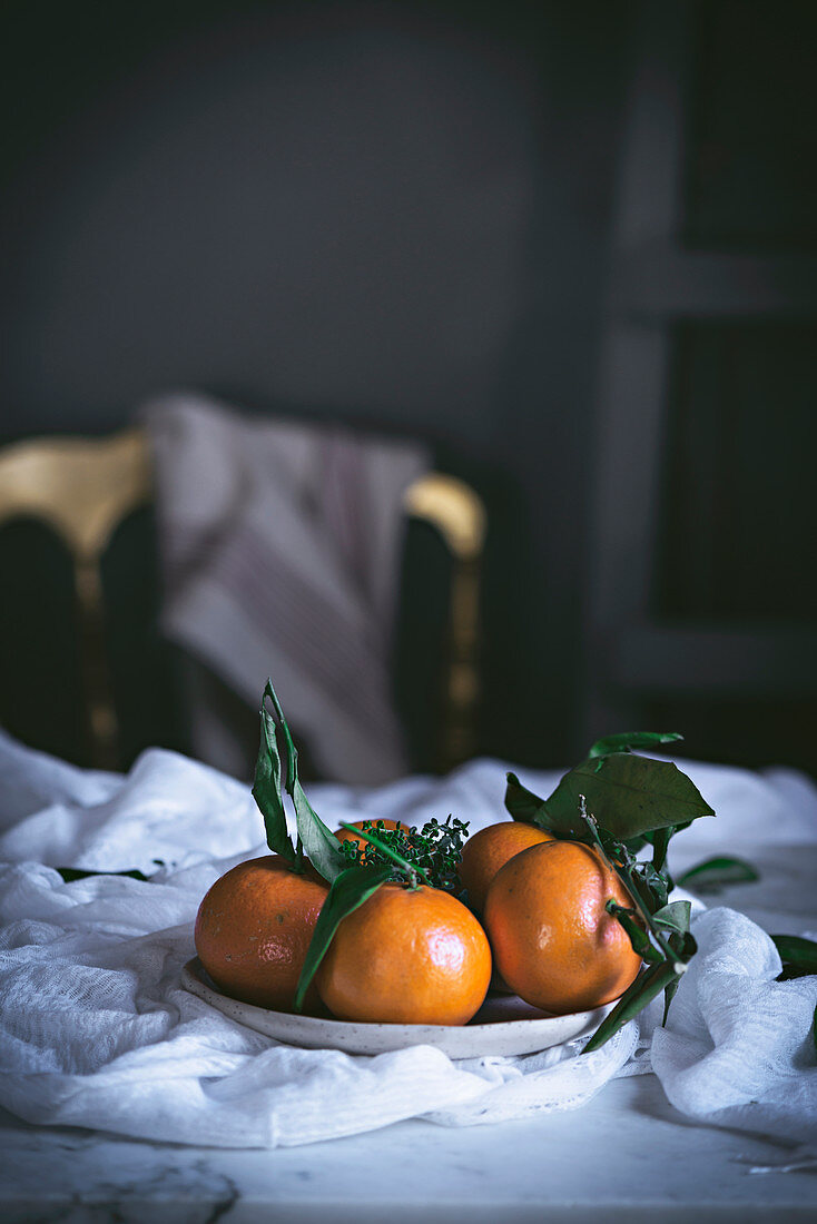Mandarins on a plate