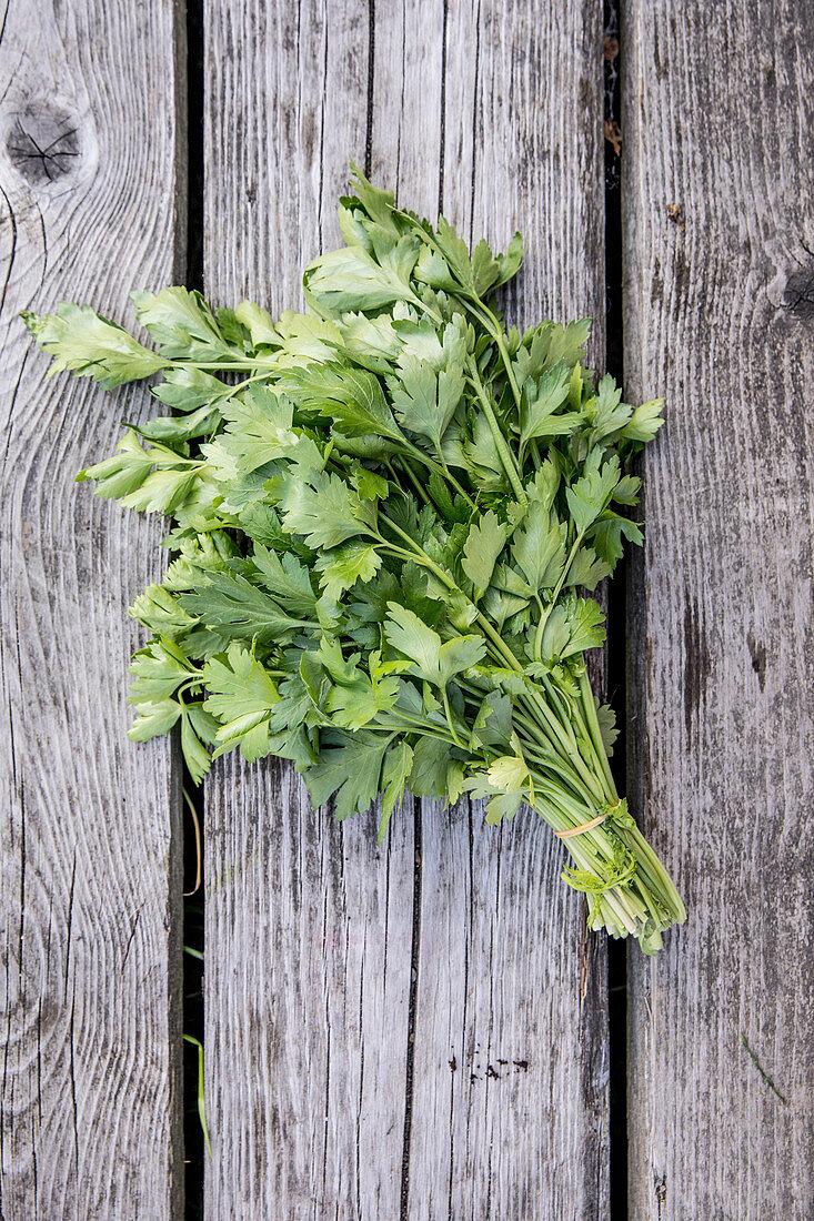 A bunch of fresh parsley
