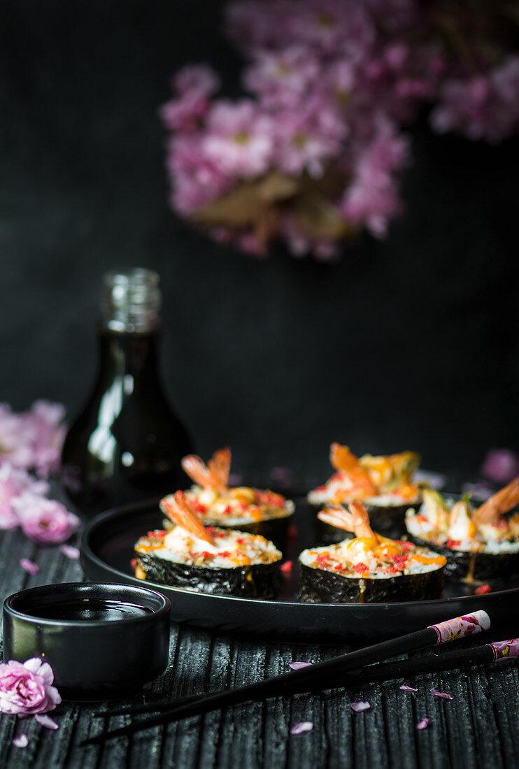 Large maki sushi with prawns