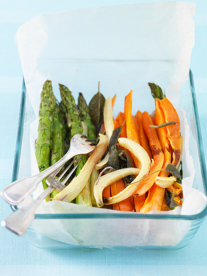 Oven-roasted vegetables with olive oil and sage