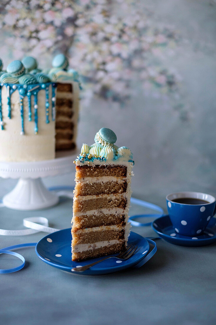 Coffee giotto cake with blue chocolate drips and sugar pearls