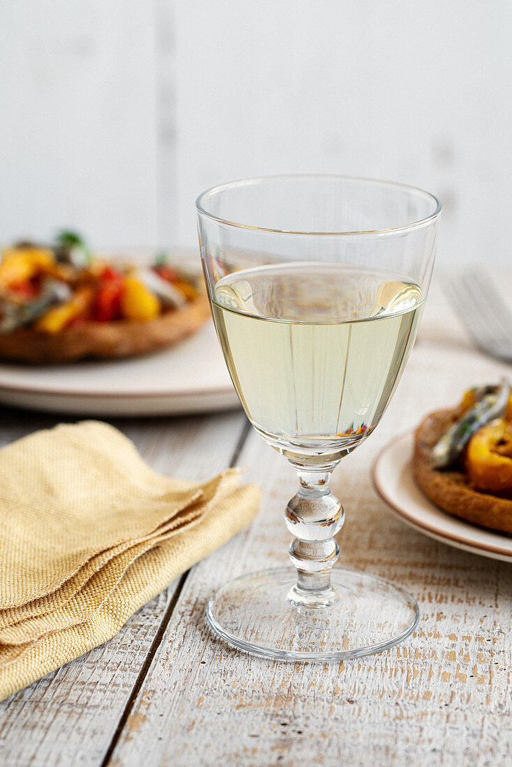 A glass of Italian white wine