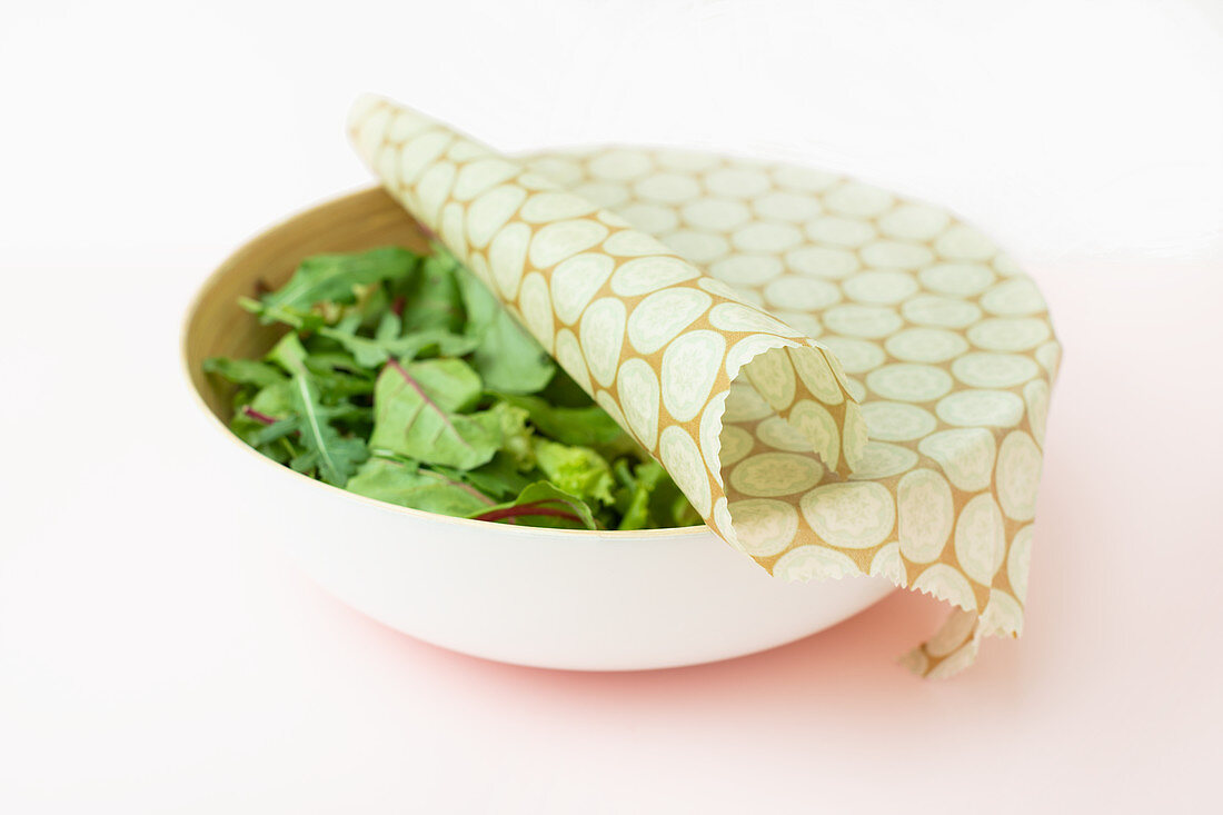 Handmade waxed wraps for keeping food fresh, such as lettuce