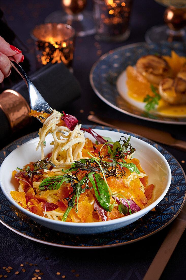Spaghetti with fish roe