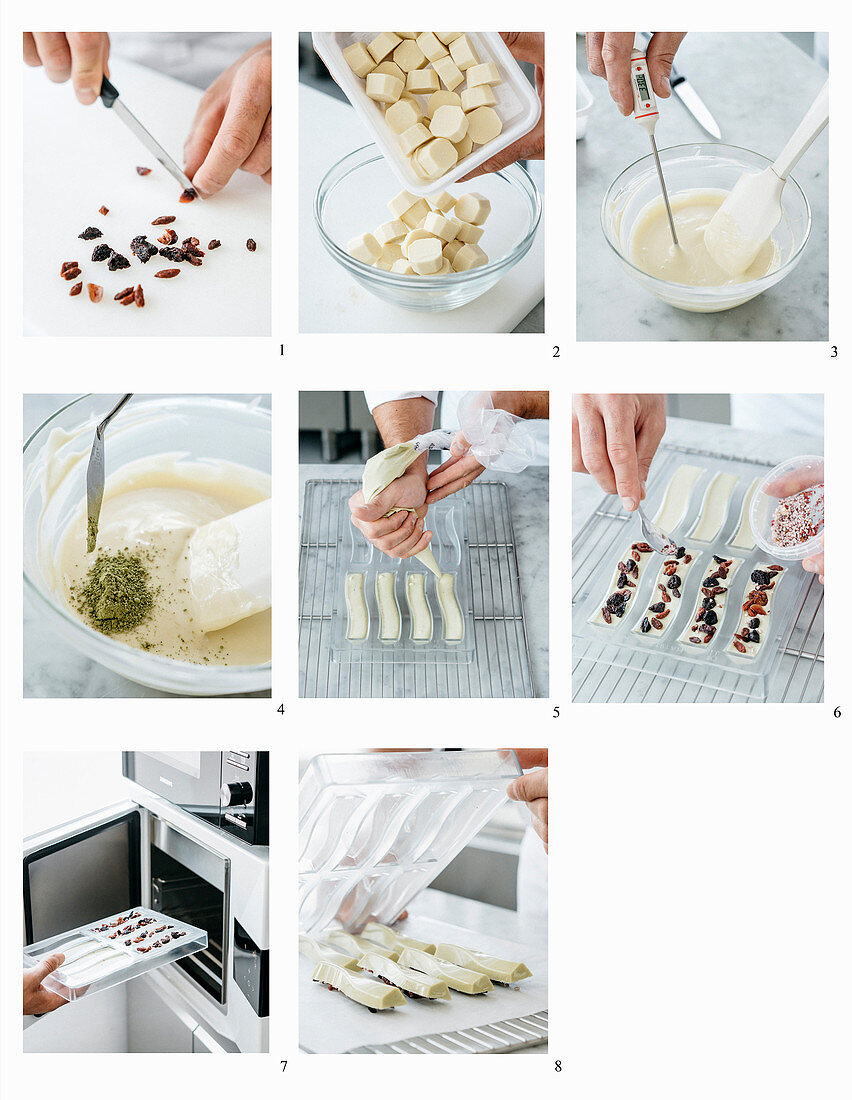 Making matcha chocolate confectionery with dried berries