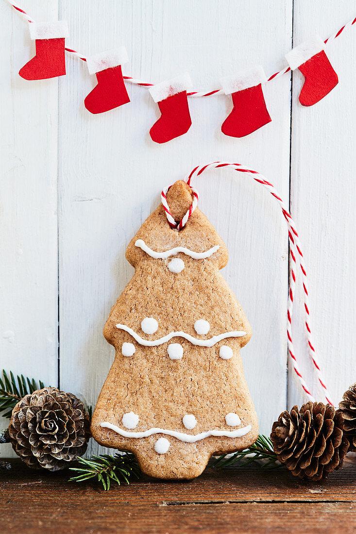 A gingerbread fir tree Christmas tree decoration