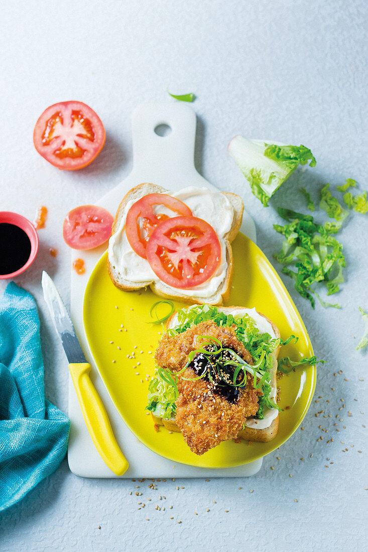 Katsu sando - Asian crumbed pork cutlet sandwich