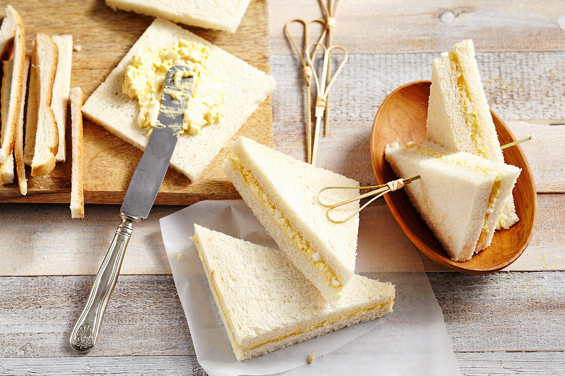 New Zealand egg sandwich with curry mayonnaise