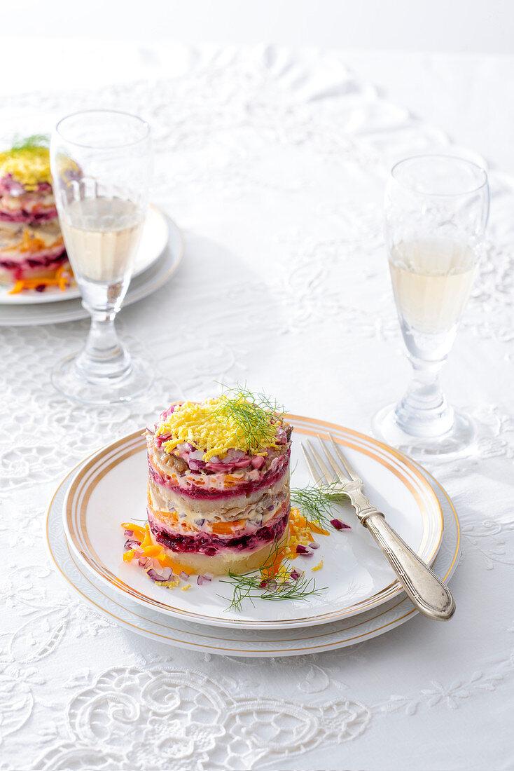 Shuba (layered herring and vegetable salad, Russia)
