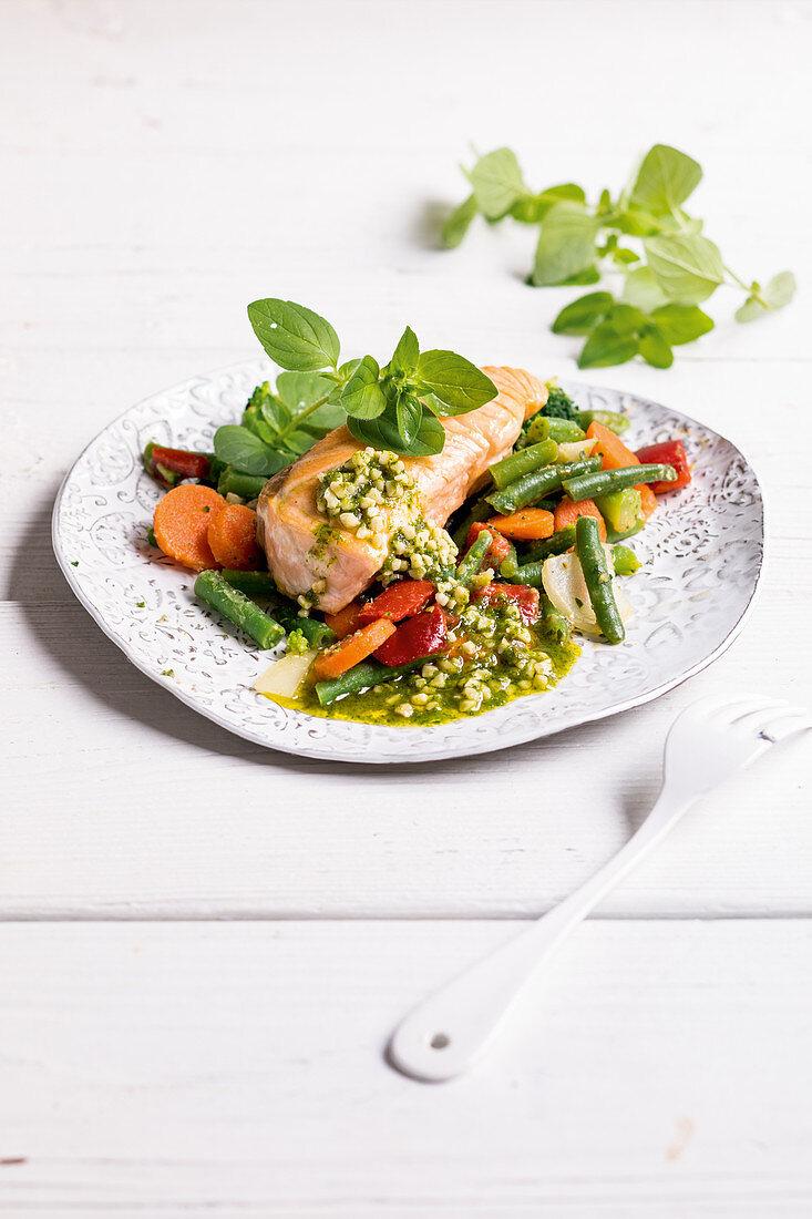 Italian vegetables with salmon