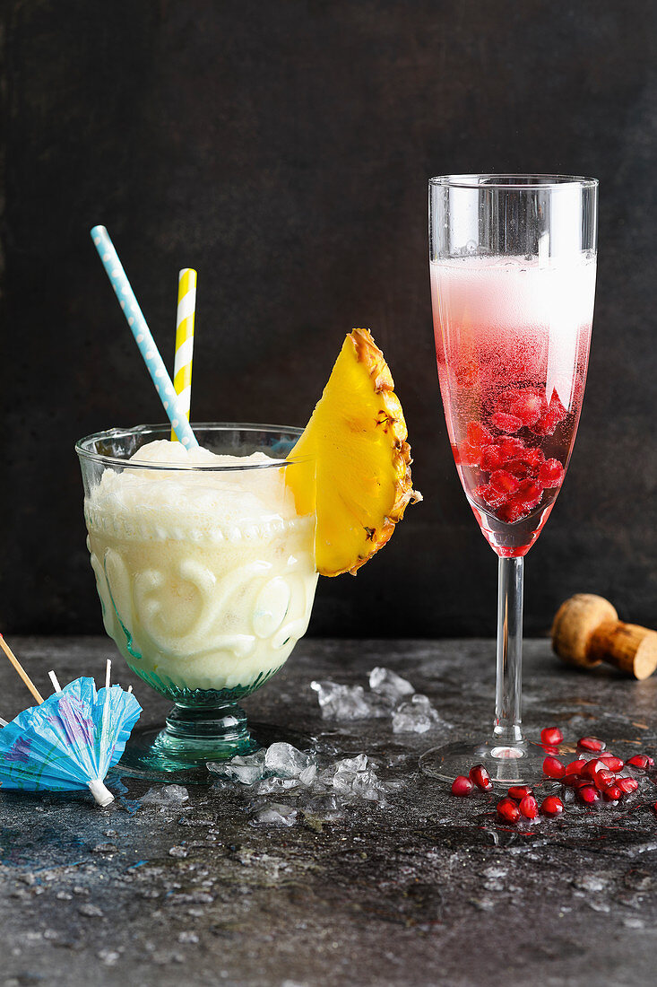 A Pina Colada and a Rosé Drink for New Year's Eve