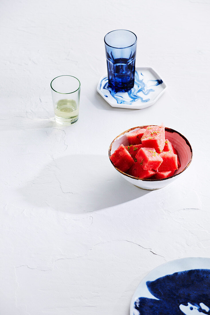 Fresh watermelon with lime zest