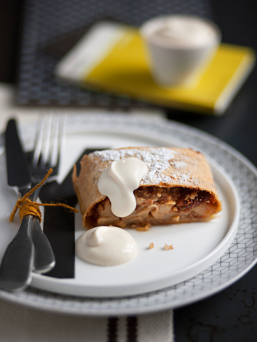 Pear strudel with dried figs, walnuts and rosemary