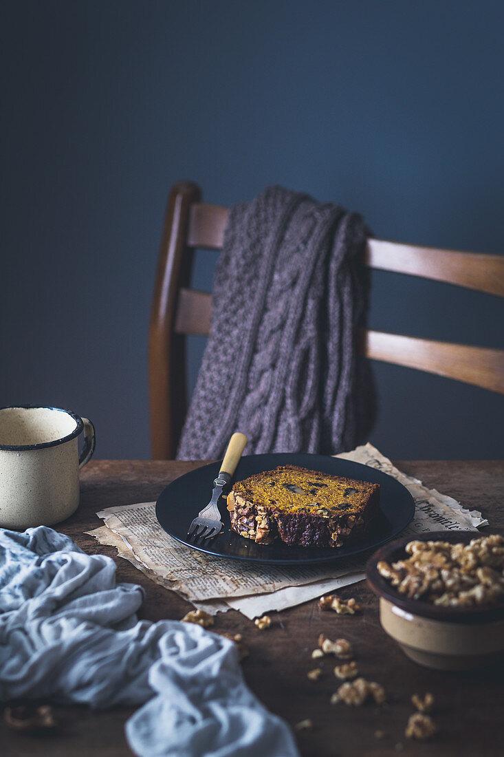 Vegan pumpkin bread with walnuts