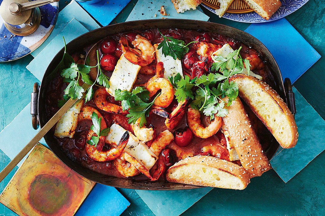 Spiced baked prawns and feta with toasted pide