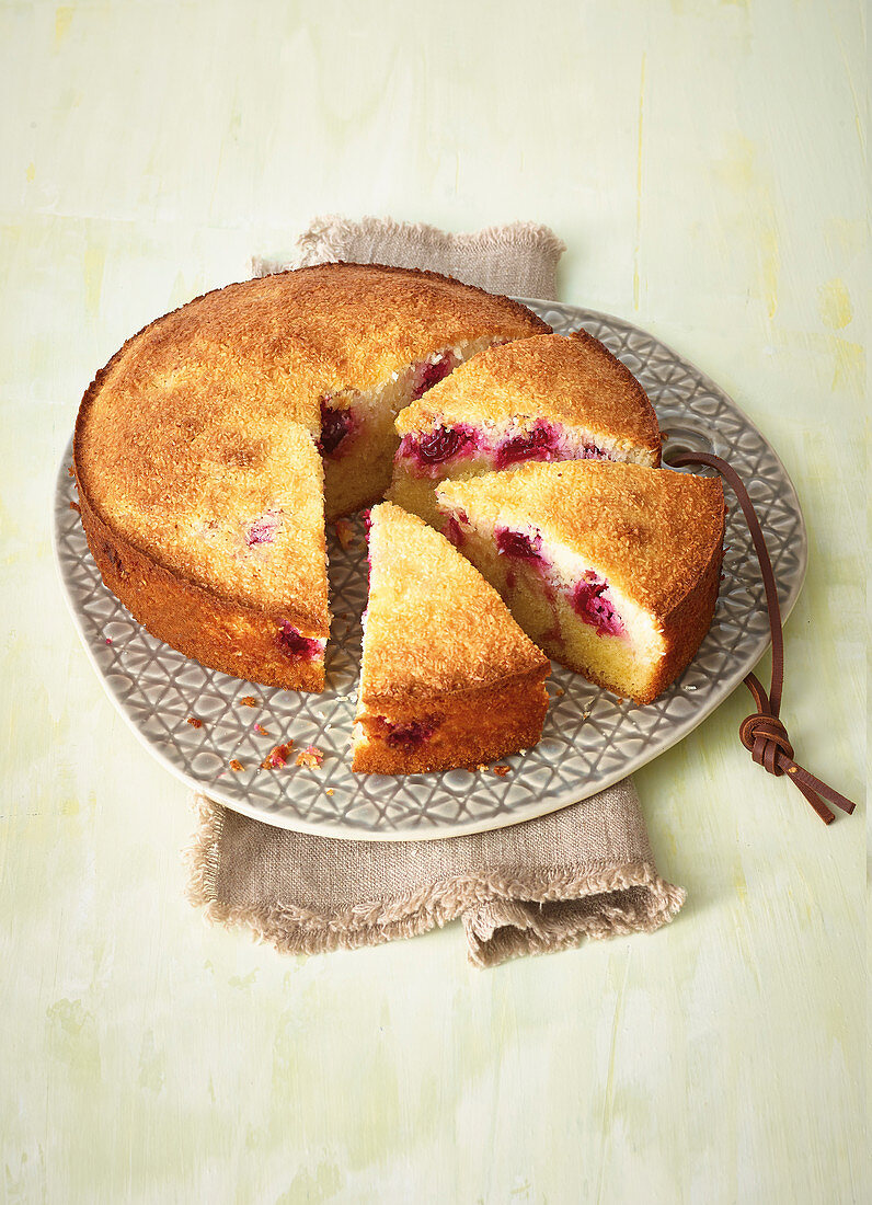 Cherry cake with a coconut macaroon topping