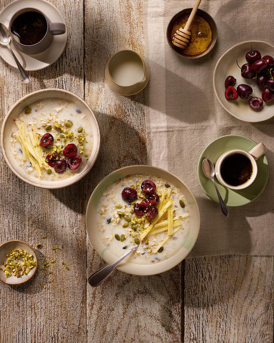 Breakfast Bircher Muesli with Coffee
