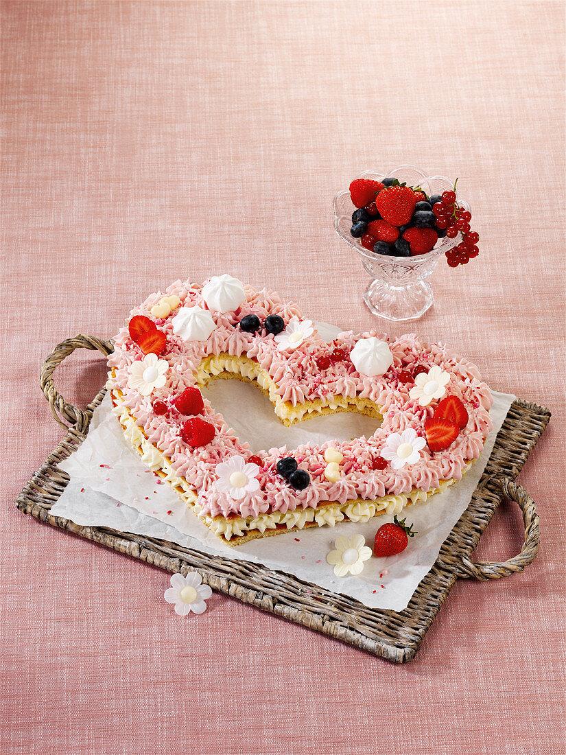 Creamy heart-shaped cake