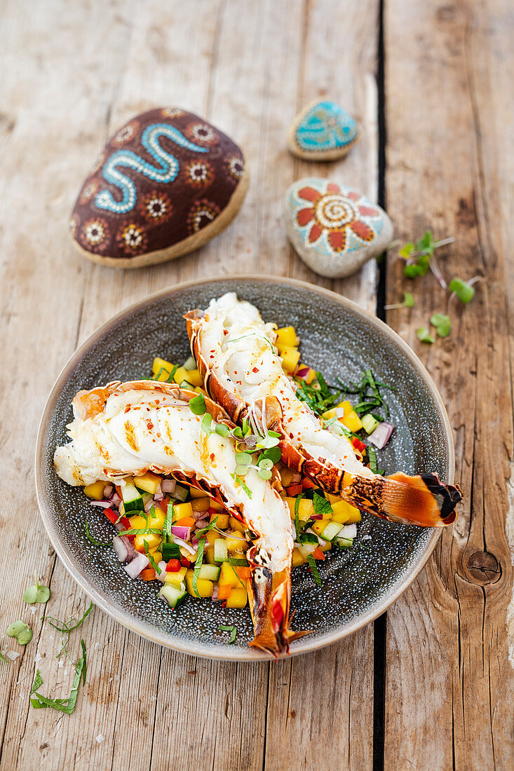 Grilled lobster tails with mango-ginger salsa and river mint