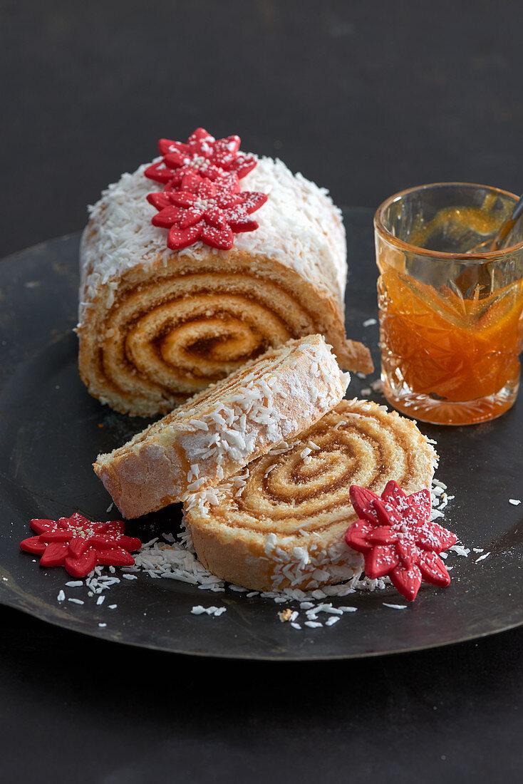 Sponge roulade with jam filling for Christmas