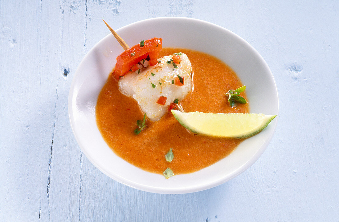 Fried spicy marinated monkfish skewer in pepper sauce (Spain)