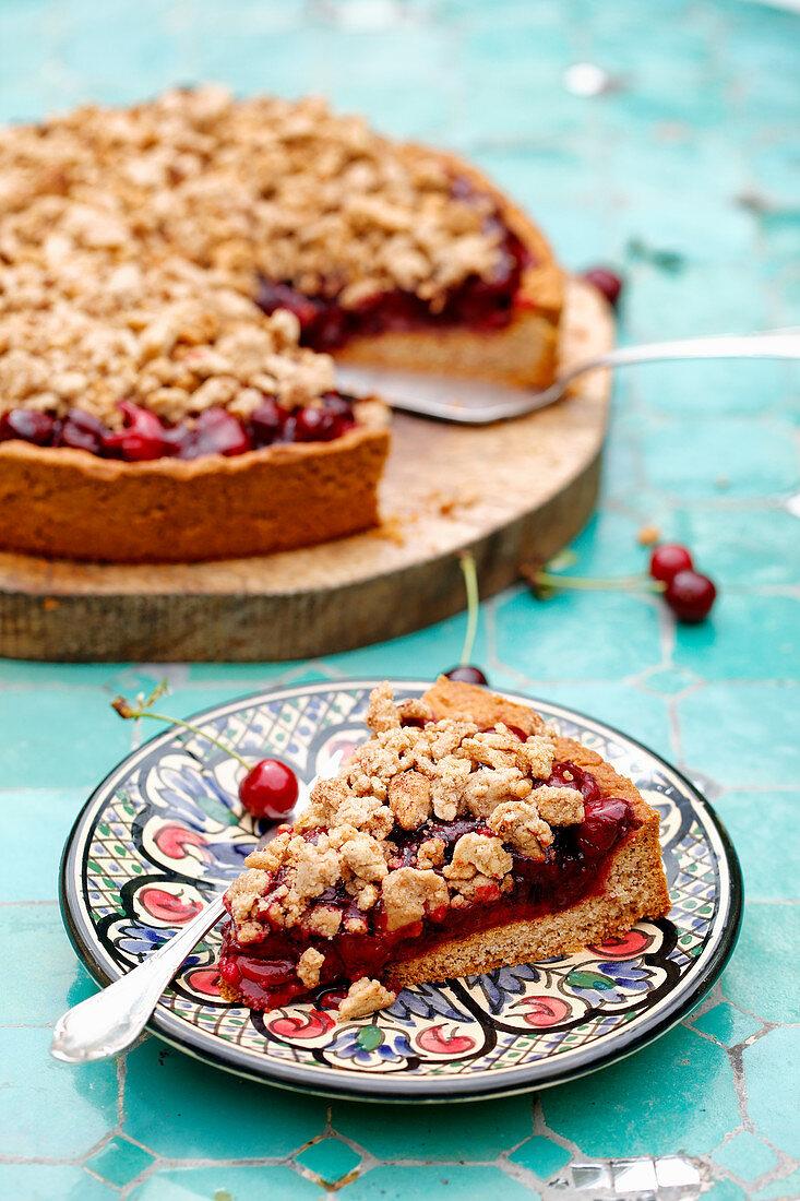 Cherry crumble cake