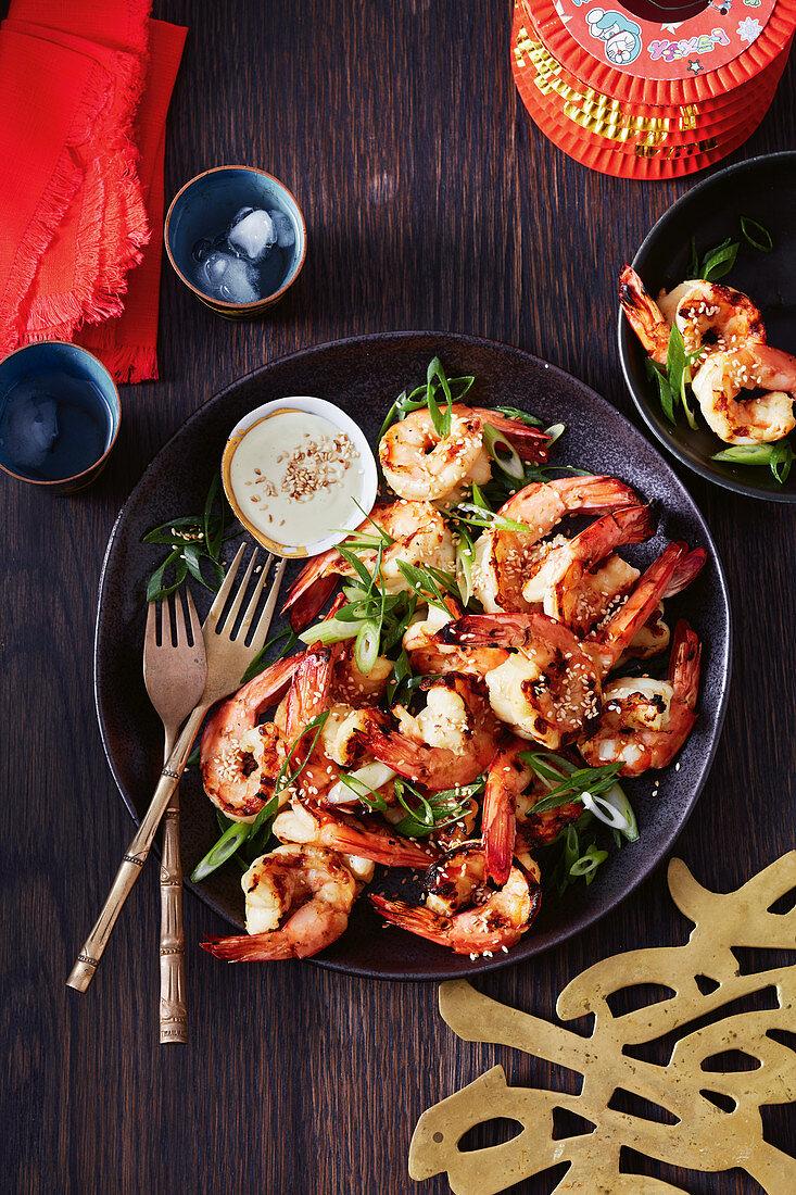Japanese style grilled shrimp with sake and wasabi