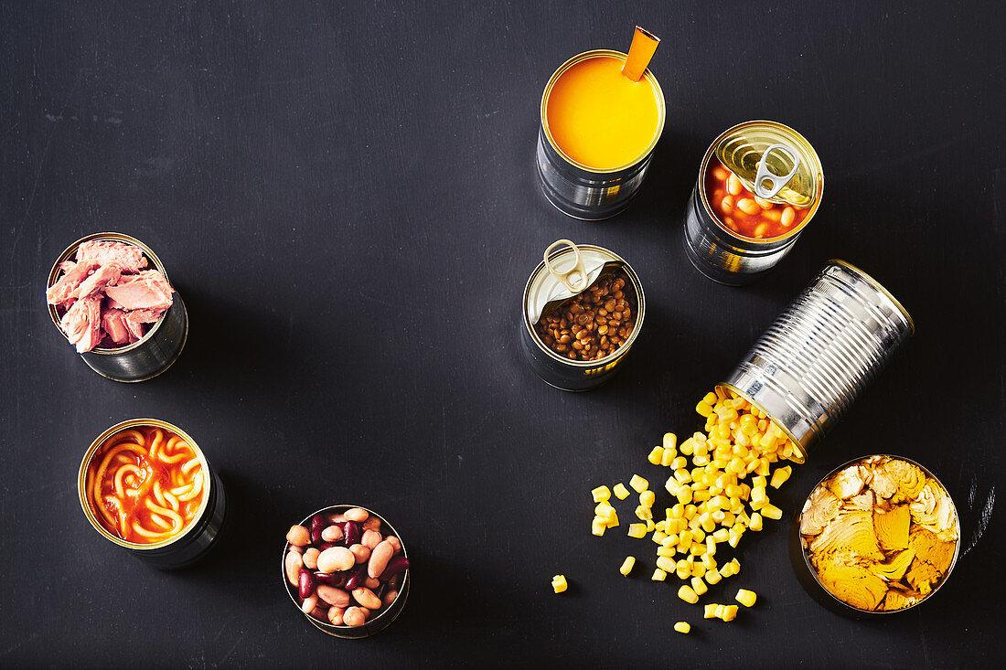 Various tinned food