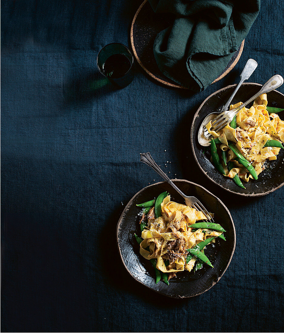 Pappardelle with Duck Ragu and Sugar Snaps