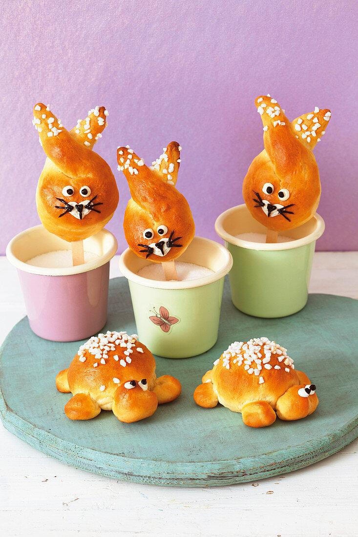 Bunny buns on sticks and tortoise rolls