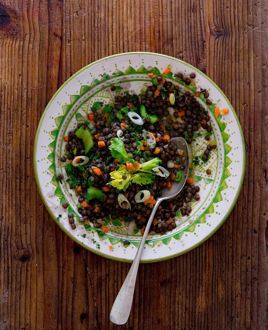 Puy lentil salad with vegetables