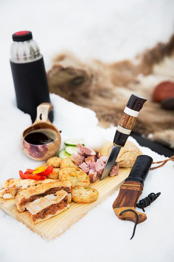 Savory food on cutting board in winter