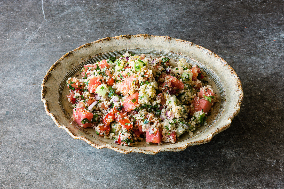 Tabbouleh with cucumber and watermelon