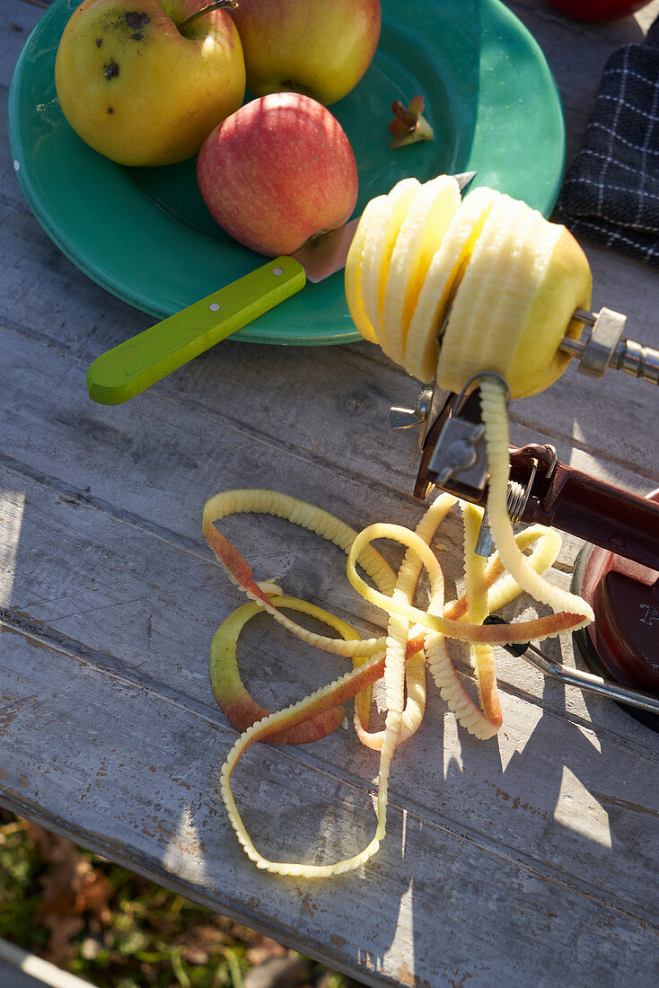 An apple being peeled in a spiral