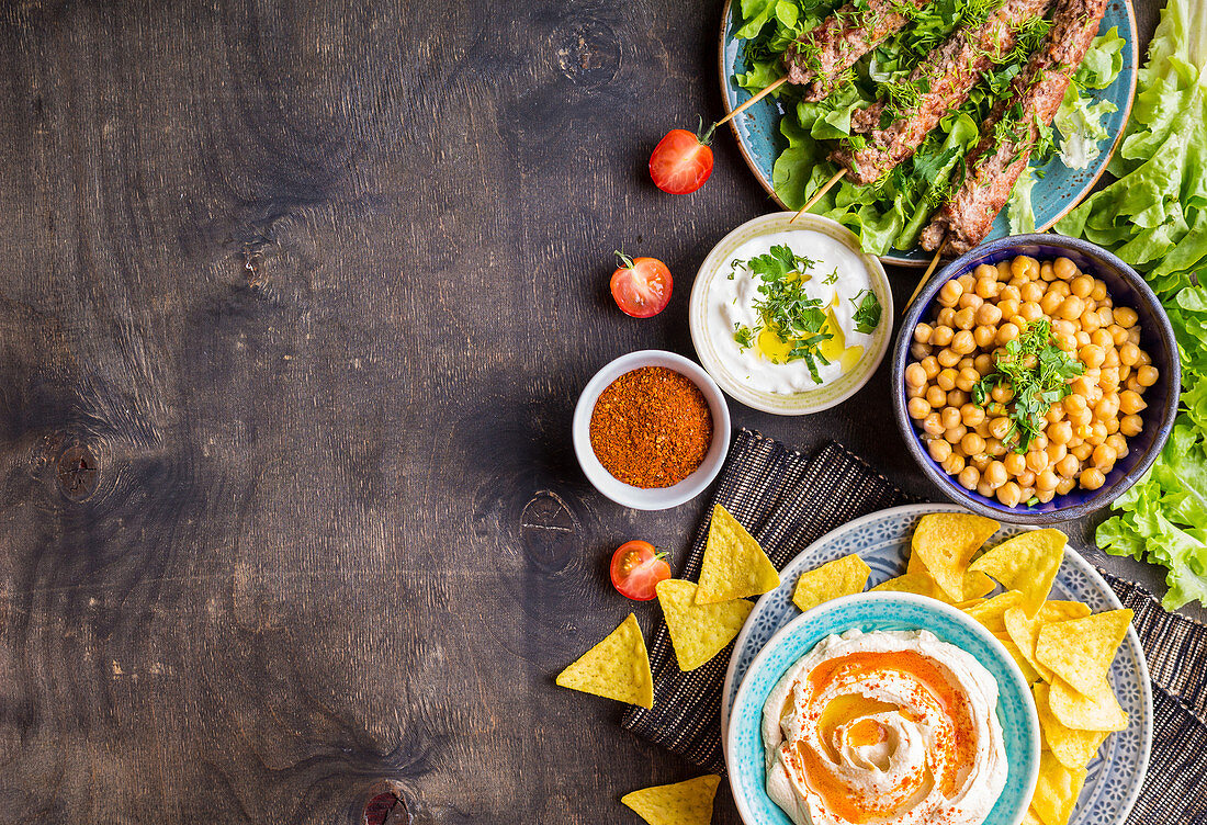 Different middle eastern dishes and meze background