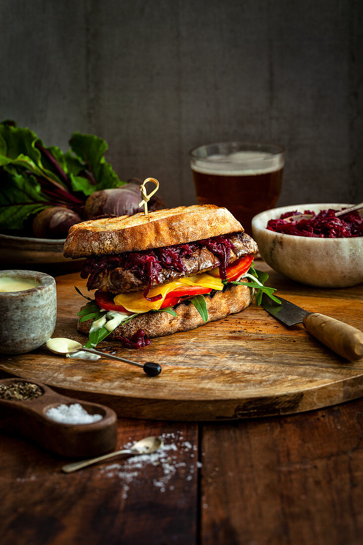 Steak Sandwich with Beetroot, Cumin Relish and Aioli