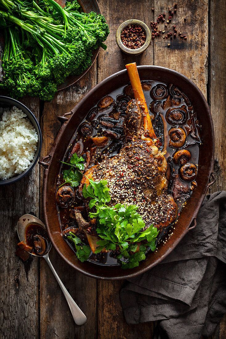 Chinese Style Slow Cooked Leg of Lamb with Shiitake Mushrooms
