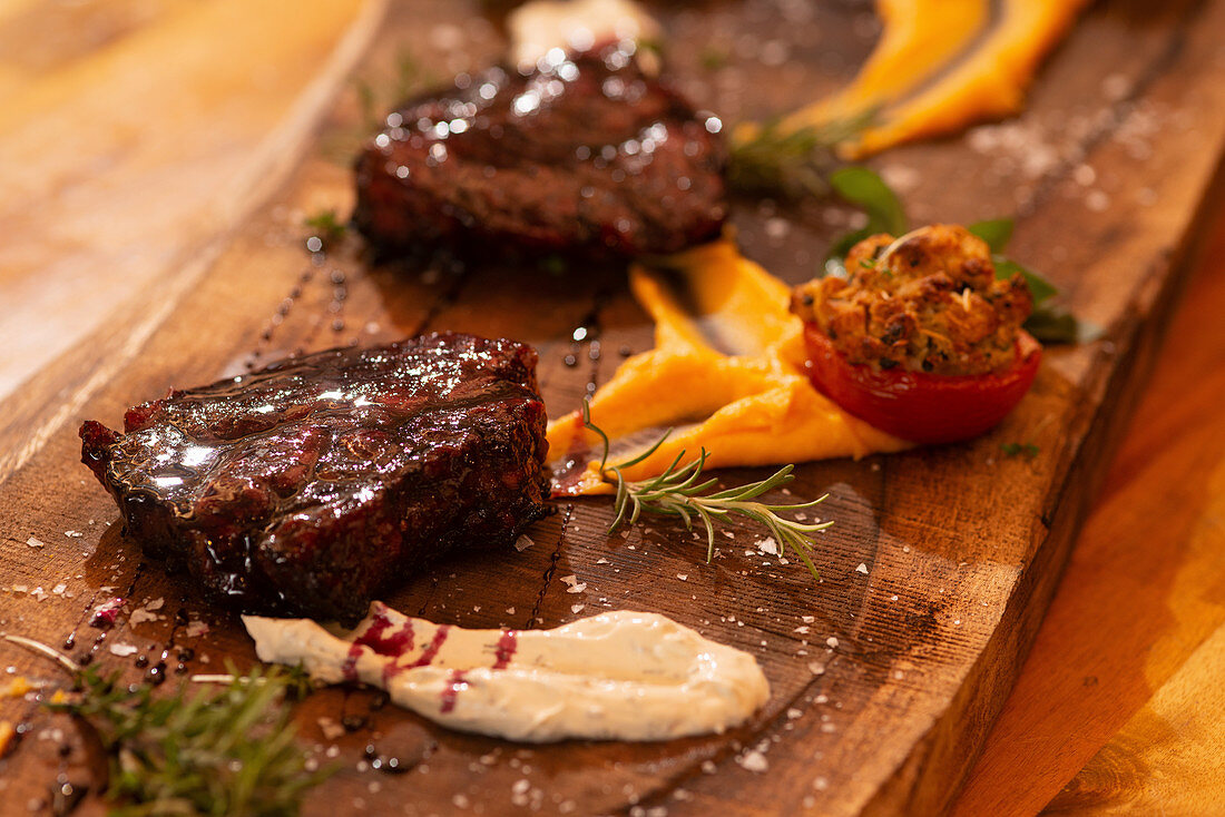 Wine infused steak from Duroc pork