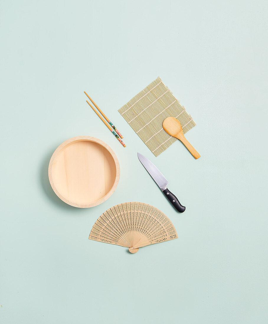 Essential kitchen utensils for making sushi