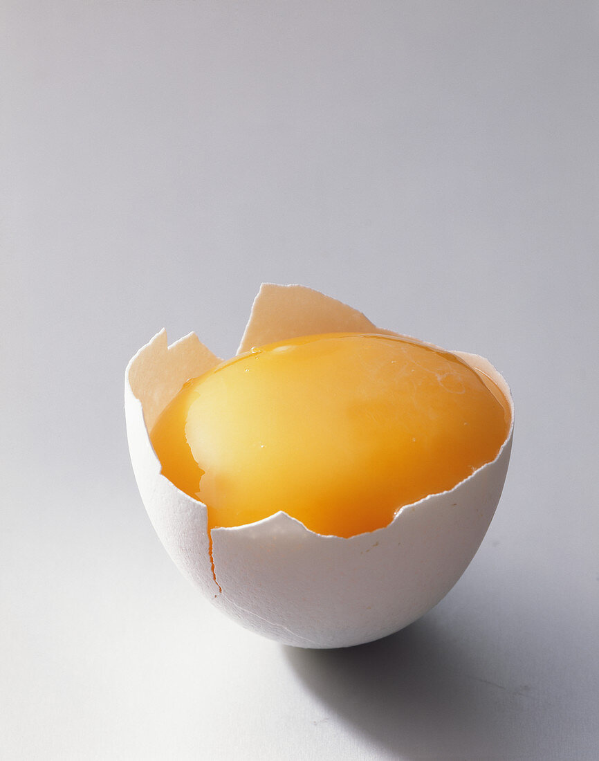 Raw yolk in an egg shell (close-up)