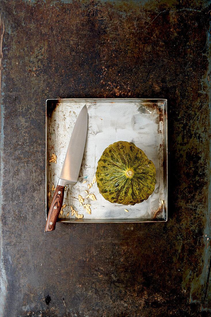 Santa Claus melon on a metal tray