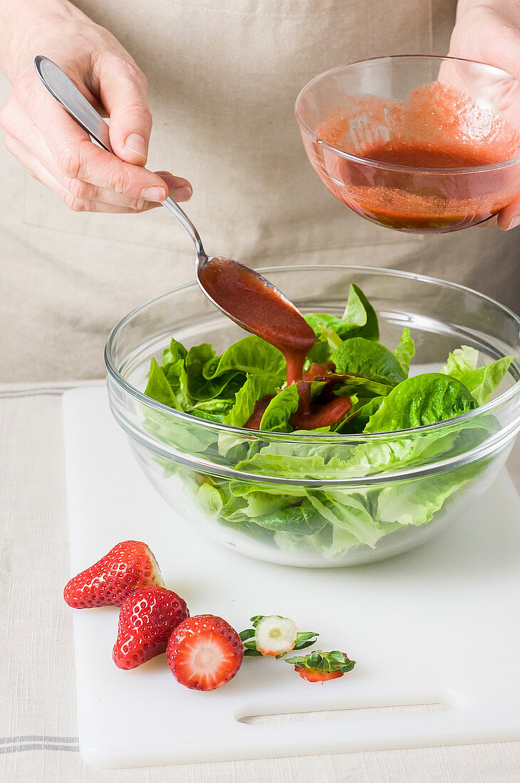 Romaine lettuce with strawberry dressing