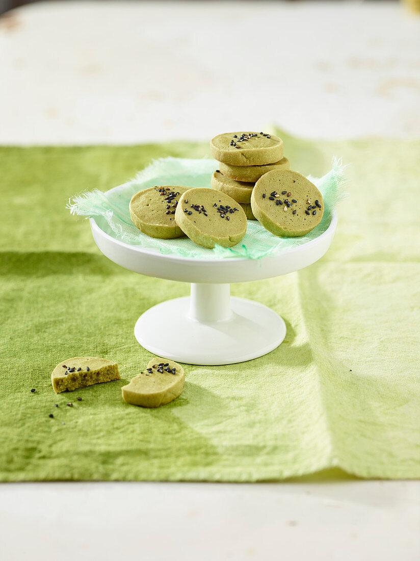 Green tea cookies with black sesame seeds