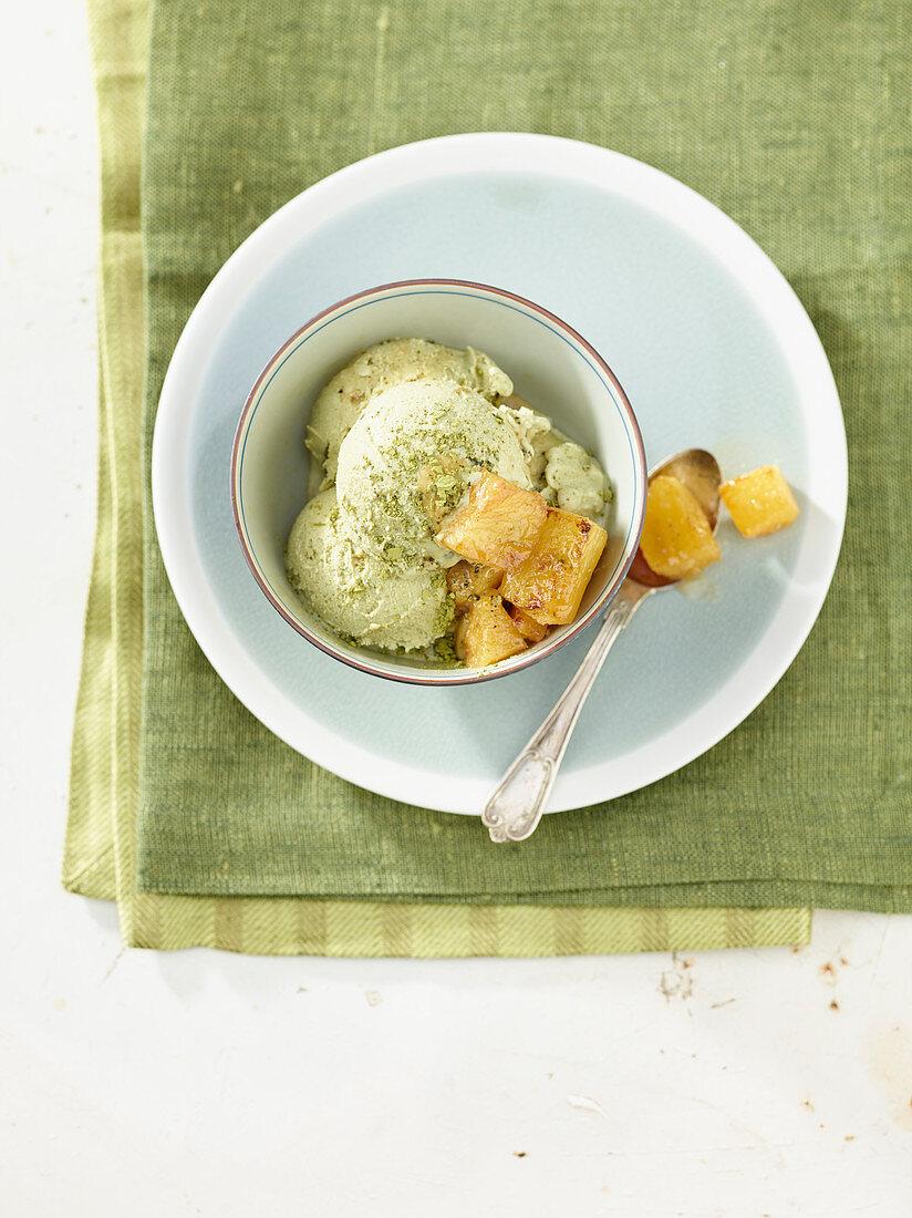Green tea ice cream with caramelized pineapple