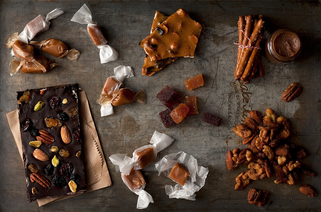 Selection of homemade candies on vintage cookie sheet
